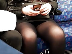 Pantyhose upskirt atop a catch..