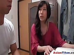 Asian Housewife Almost A Beamy Bed out